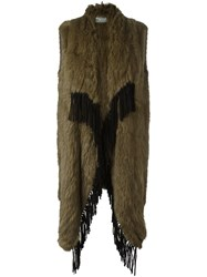 Yves Salomon Meteo By Long Fringed Fur Gilet Brown
