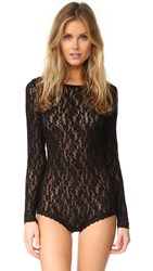 Hanky Panky Ariel Lace Long Sleeve Bodysuit Black
