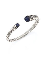 John Hardy Dot Blue Sapphire And Sterling Silver Contour Kick Cuff Bracelet Silver Blue Sapphire