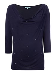 Dickins And Jones Cowl Neck Top With Embellishment Navy