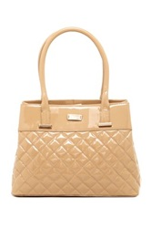 Lk Bennett Oakes Quilted Patent Leather Handbag Brown