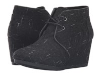 Toms Desert Wedge Black Dotted Wool Women's Wedge Shoes