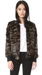 Jocelyn Long Hair Rabbit Bomber Jacket Khaki Camo