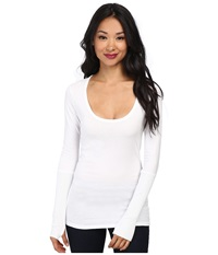 Alternative Apparel Rib Sleeve Scoop Neck Tee White Women's Long Sleeve Pullover