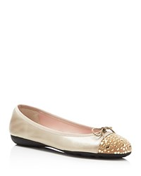 Paul Mayer Brill Brighton Metallic Studded Ballet Flats Champagne Oro