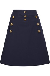 Michael Kors Collection Embellished Wool Crepe Mini Skirt Navy