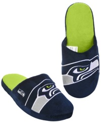Forever Collectibles Men's Seattle Seahawks Big Logo Slippers Navy Lime