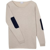 Orwell Austen Cashmere Oatmeal And Dark Navy Elbow Patch Sweater Blue