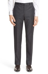 Armani Collezioni Men's 'G Line' Trim Fit Flat Front Solid Wool Trousers Medium Grey