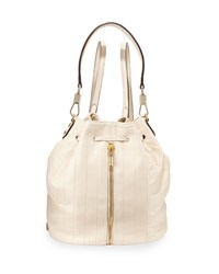 Elizabeth And James Cynnie Quilted Leather Drawstring Backpack Cream Ivory