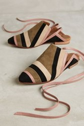 Anthropologie Luiza Perea Suede Ankle Wrap Mules Novelty