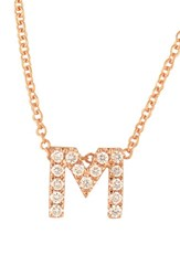 Bony Levy Women's Pave Diamond Initial Pendant Necklace Nordstrom Exclusive M Rose Gold