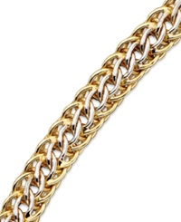 Macy's 14K Gold Over Sterling Silver And Sterling Silver Bracelet Mesh