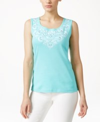 Karen Scott Embroidered Tank Top Only At Macy's Island Sky