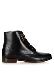 A.P.C. Francoise Leather Lace Up Ankle Boots Black