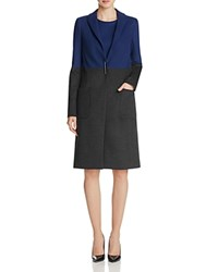 Elie Tahari Karen Color Block Coat Grey Cobalt