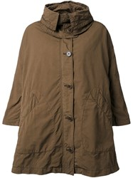 Aspesi Hooded Cape Coat Brown