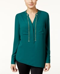 Thalia Sodi Chain Tie Asymmetrical Blouse Only At Macy's Dark Forest