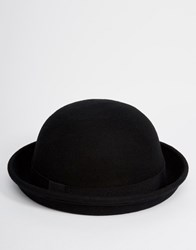 Asos Bowler Hat In Black Felt Black