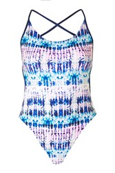 Topshop Tie Dye Swimsuit Blue