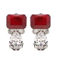 Carolina Herrera Mytheresa.Com Exclusive Crystal Embellished Clip On Earrings Red