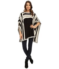 Steve Madden Woven Rectangular Poncho Black Women's Sweater