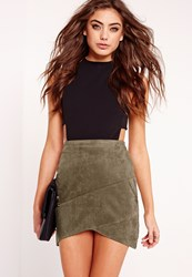 Missguided Faux Suede Wrap Mini Skirt Khaki Beige