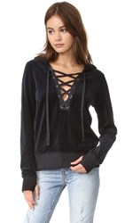 Pam And Gela Lace Up Hoodie Black