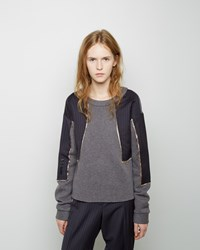 Maison Margiela Defile Pinstripe Patchwork Sweatshirt Grey And Navy