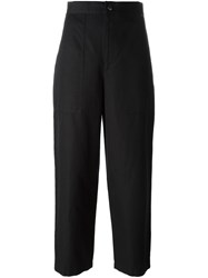 Helmut Lang Loose Fit Cropped Trousers Black