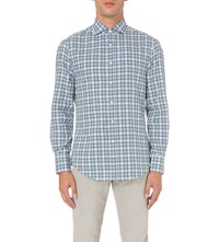Brunello Cucinelli Slim Fit Checked Cotton Shirt Blues