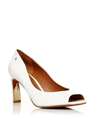 Moda In Pelle Camdon Mid Heel Peep Toe Court Shoes White
