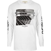 River Island Mens White Metallic Print Long Sleeve T Shirt