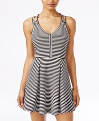 Material Girl Juniors' Striped Textured Crisscross Fit And Flare Dress Only At Macy's Caviar Black Combo