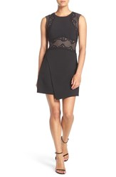 Bcbgmaxazria Women's Lace Trim Asymmetrical A Line Crepe Dress Black