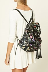 Forever 21 Floral Faux Leather Backpack Black Multi