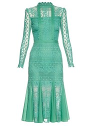 Temperley London Desdemona Long Sleeved Lace Midi Dress Mid Green