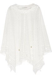 Chloe Hooded Cotton Blend Lace Poncho White