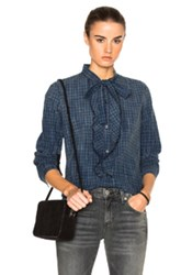 Amo Olivia Top In Blue Checkered And Plaid Blue Checkered And Plaid