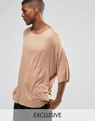 Reclaimed Vintage Oversized Drapey T Shirt Brown