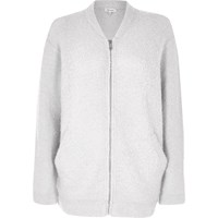 River Island Womens Light Grey Fluffy Bomber Jacket