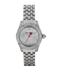 Betsey Johnson Ladies Silvertone Watch With Crystal Bezel