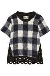 Sea Gingham Knitted And Guipure Lace Top