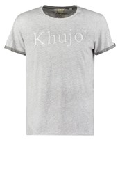 Khujo Treat Regular Fit Print Tshirt Steel Grey Melange Mottled Grey