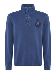 Howick Men's Edmonton Plain Zip Up Funnel Neck Blue