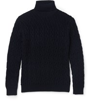 Etro Cable Knit Wool Rollneck Sweater Blue