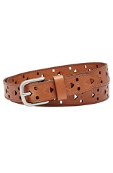 Women's Fossil Diamond Perforated Leather Belt