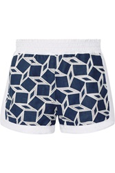 Jonathan Simkhai Embroidered Cotton Blend Shorts Blue