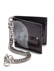 Alexander Mcqueen Printed Leather Chain Wallet Black White
