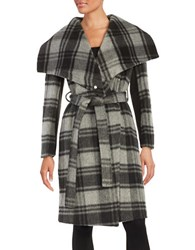 Bcbgmaxazria Plaid Wool Blend Wrap Jacket Charcoal Grey